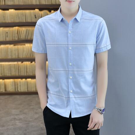 Carapaz Short Sleeve Button Up Shirt // Light Blue + White Stripes (M)