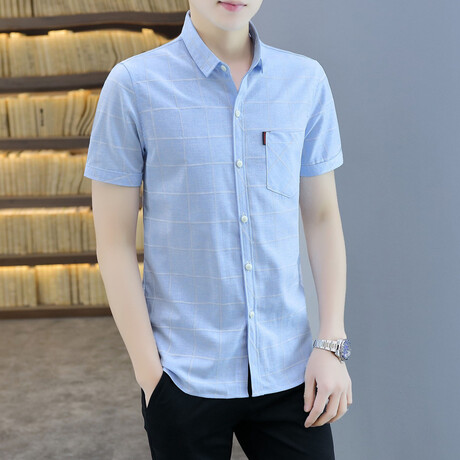 Cattaneo Short Sleeve Button Up Shirt // Light Blue (M)