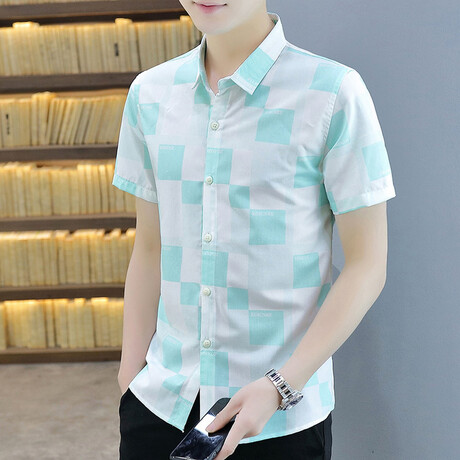 Dumoulin Short Sleeve Button Up Shirt // Green + White (M)
