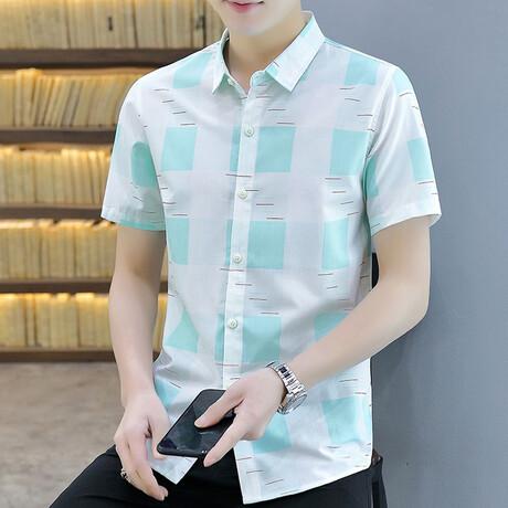 Hirschi Short Sleeve Button Up Shirt // Green + White (M)