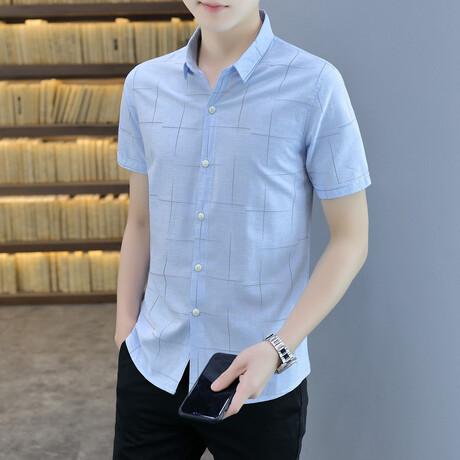 Henao Short Sleeve Button Up Shirt // Light Blue (M)