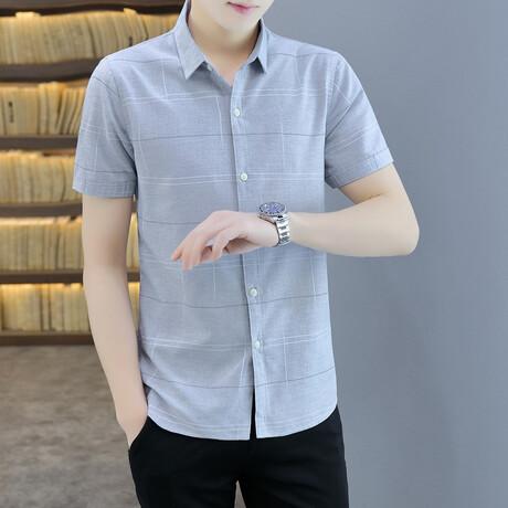 Dunbar Short Sleeve Button Up Shirt // Gray (M)