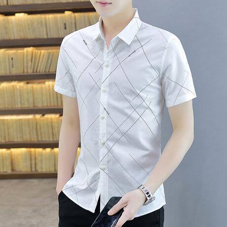Steimle Short Sleeve Button Up Shirt // White + Black Print (M)