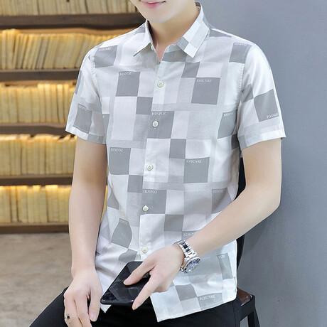 Dumoulin Short Sleeve Button Up Shirt // Gray + White (M)