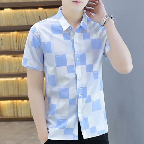 Dumoulin Short Sleeve Button Up Shirt // Light Blue + White (M)