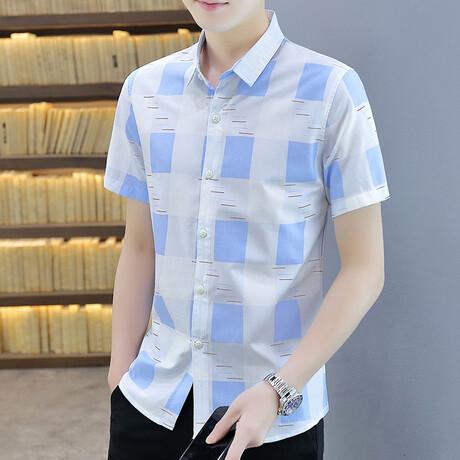 Hirschi Short Sleeve Button Up Shirt // Light Blue + White (M)