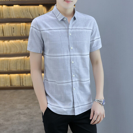 Carapaz Short Sleeve Button Up Shirt // Gray + White Stripes (M)