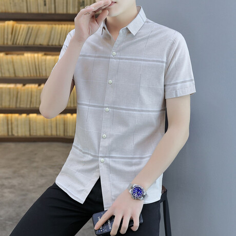Carapaz Short Sleeve Button Up Shirt // Khaki + White Stripes (M)