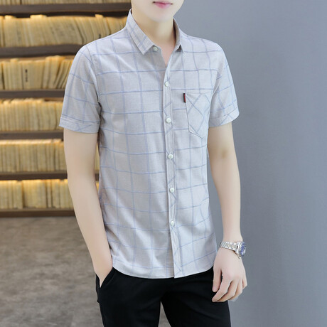 Cattaneo Short Sleeve Button Up Shirt // Khaki (M)