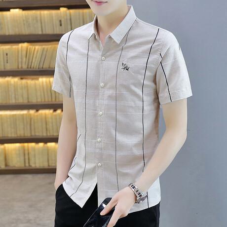 Oomen Short Sleeve Button Up Shirt // Khaki (M)