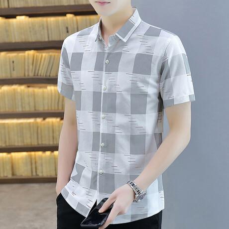 Hirschi Short Sleeve Button Up Shirt // Gray + White (M)