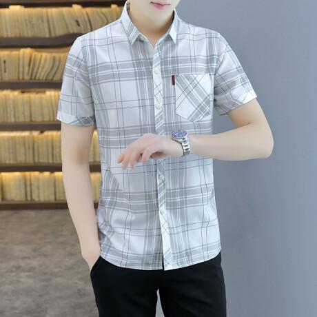 Hodeg Short Sleeve Button Up Shirt // White + Gray (M)
