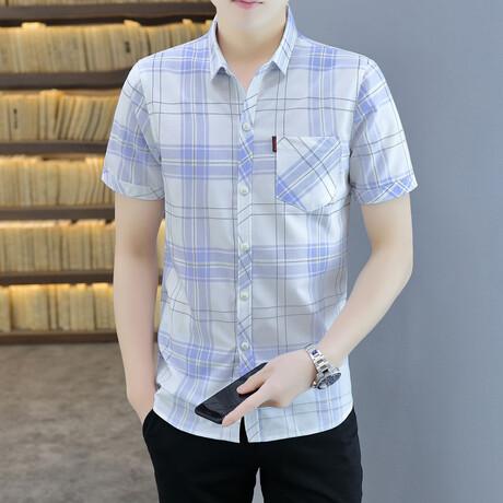 Hodeg Short Sleeve Button Up Shirt // White + Light Blue (M)