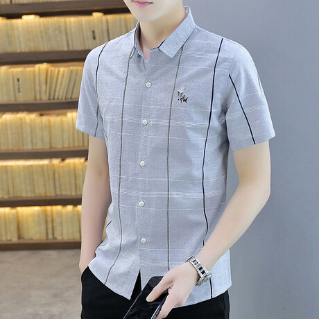 Oomen Short Sleeve Button Up Shirt // Gray (M)