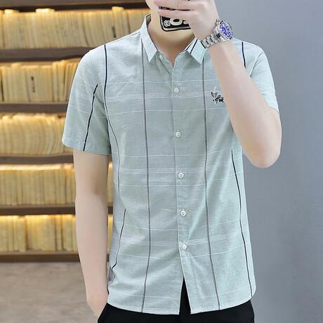 Oomen Short Sleeve Button Up Shirt // Green (M)