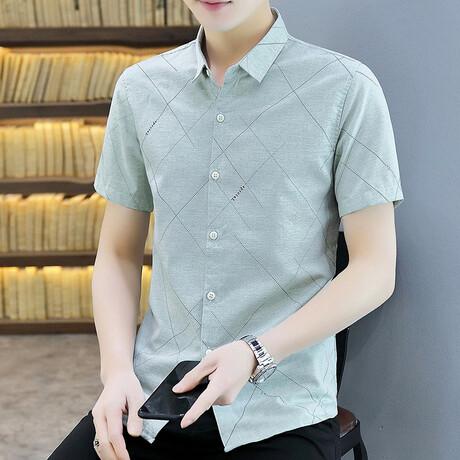 Steimle Short Sleeve Button Up Shirt // Green + Black Print (M)