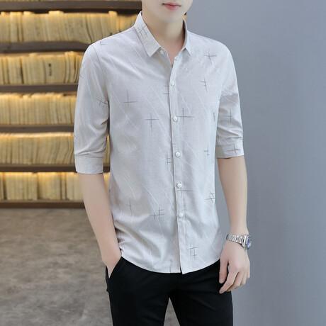 Gibbons Long Sleeve Button Up Shirt // Khaki (M)