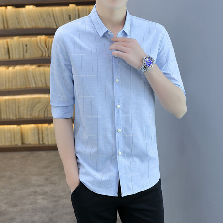 Molano Long Sleeve Button Up Shirt // Light Blue (M)