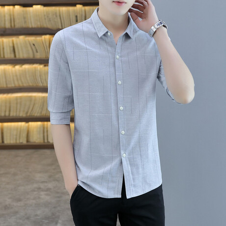 Molano Long Sleeve Button Up Shirt // Gray (M)