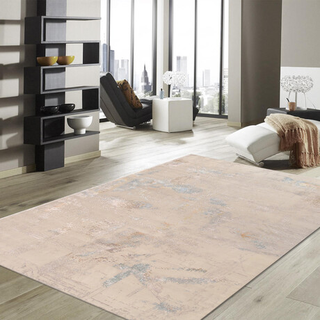 Home Modern Collection // Hand-Knotted Silk + Wool Area Rug // Beige // V4