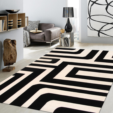 Home Rodeo Collection // Hand-Tufted Silk + Wool Area Rug // White // V2 (5' x 8')