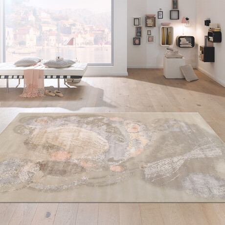 """Home Modern Collection // Hand-Knotted Silk + Wool Area Rug // Beige // V5 (10'4"""" x 14'3"""")"""