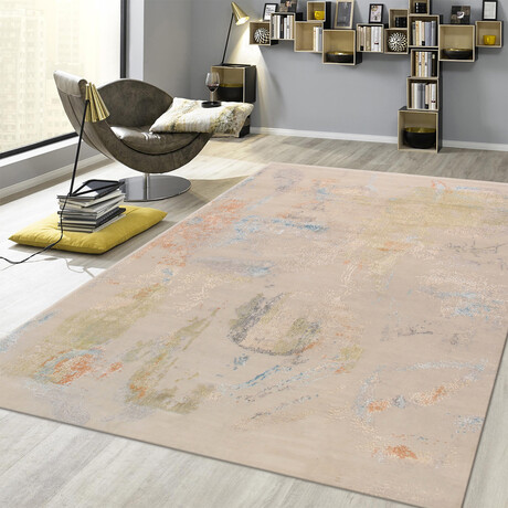 Home Modern Collection // Hand-Knotted Silk + Wool Area Rug // Beige // V3