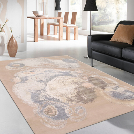Home Modern Collection // Hand-Knotted Silk + Wool Area Rug // Gold