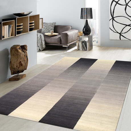Home Rodeo Collection // Hand-Tufted Silk + Wool Area Rug // Silver // V1 (5' x 8')