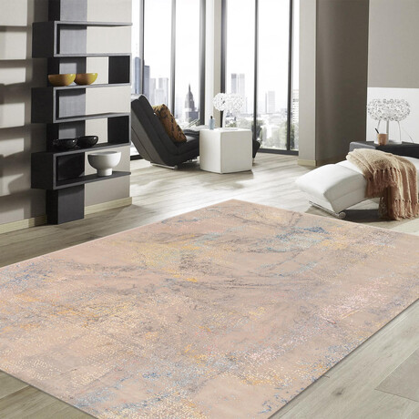 Home Modern Collection // Hand-Knotted Silk + Wool Area Rug // Light Gray // V2