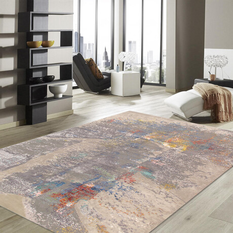 Home Modern Collection // Hand-Knotted Silk + Wool Area Rug // Beige // V1