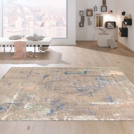 Home Modern Collection // Hand-Knotted Silk + Wool Area Rug // Gray // V2