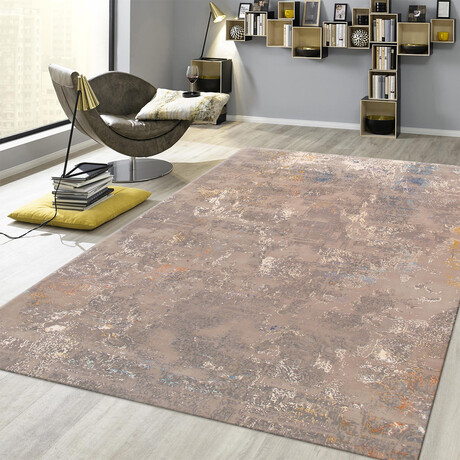 Home Modern Collection // Hand-Knotted Silk + Wool Area Rug // Beige // V2