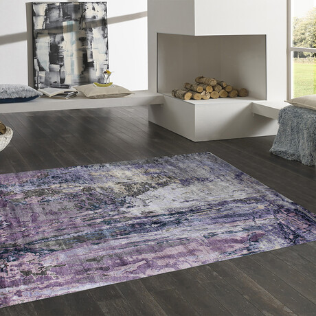Home Modern Collection // Hand-Knotted Silk Area Rug // Purple (8' x 10')
