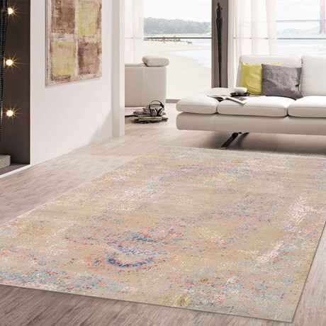 Home Modern Collection // Hand-Knotted Silk + Wool Area Rug // Multi // V2