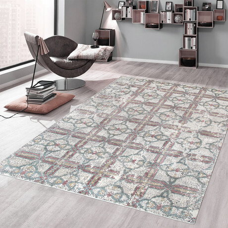 Home Nara Collection // Hand-Knotted Silk + Wool Area Rug // Ivory // V1