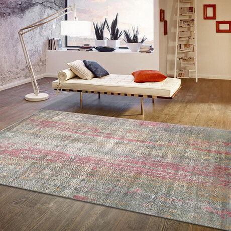 Home Nara Collection // Hand-Knotted Bamboo Silk + Wool Area Rug // Multi // V1