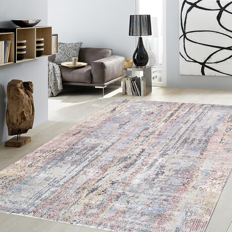 Home Nara Collection // Hand-Knotted Silk + Wool Area Rug // Ivory // V2