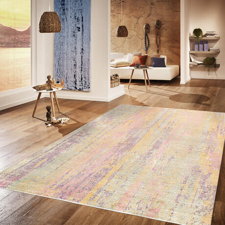 Home Nara Collection // Hand-Knotted Silk + Wool Area Rug // Multi // V2