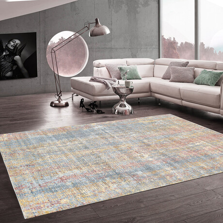 Home Nara Collection // Hand-Knotted Silk + Wool Area Rug // Blue