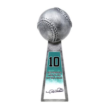 "Gary Sheffield // Signed Baseball World Champion Trophy // Silver // 14"" Replica"