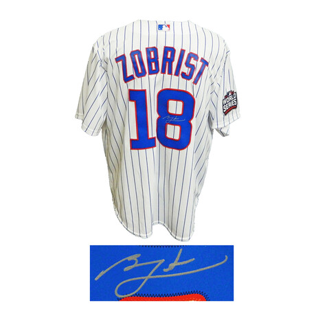Ben Zobrist // Signed Chicago Cubs 2016 World Series Patch Majestic Jersey // White Pinstripe