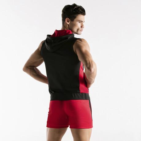 Active Sleeveless Hoodie // Black + Red (S)