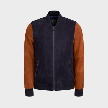 Jonathan Bomber Jacket // Navy + Cognac (XS)