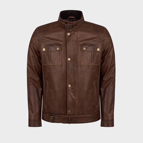 Cameron Classic Biker Jacket // Oiled Brown (XS)