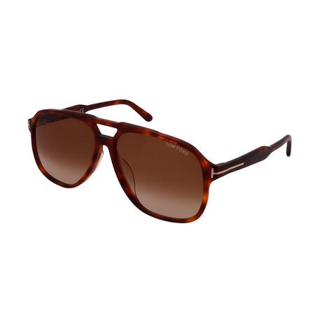 Tom Ford // Unisex FT0753D-53F Aviator Sunglasses // Havana
