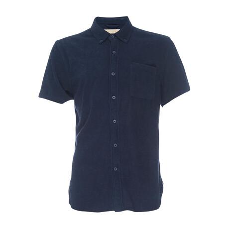 Truman Stretch Terry Short Sleeve Button Down Shirt // Navy (XS)