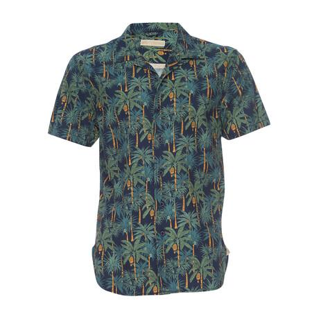 Truman Camp Shirt // Navy + Tropical Palm Print (XS)