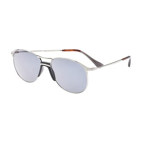 Men's Reto Round Aviator Sunglasses // Black + Silver + Gray Gradient