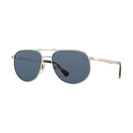 Men's Metal Aviator Sunglasses // Gold + Blue Gray
